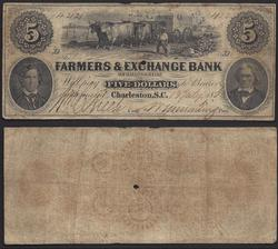 Obsolete $5 1834 Farmers & Exchange Bank SC