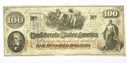 Unc 1863 CSA $100 Note, CSA BlockLetter Wmark