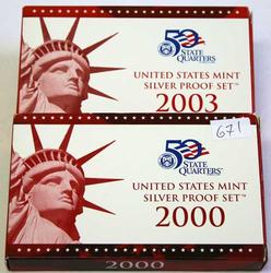 2000 and 2003 US Silver Proof Sets