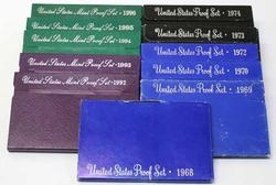 Lot of Proof Sets 1968-70 1972-74 1992-96