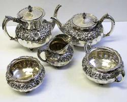 Reed &Barton Five Piece Repousse Sterling Silver Tea  Service