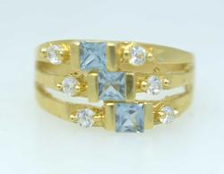 Blue Topaz Ring in Gold, Size 5.75