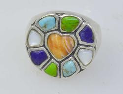 Multi-Stone Heart Motif Ring, Size 7.75