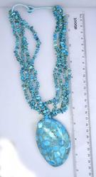 Spectacular Huge Abalone & Turquoise Necklace, 13in