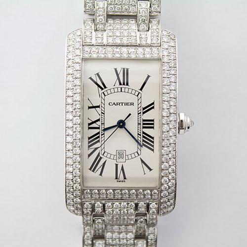 Diamonds Galore! 18Kt White Gold Cartier Tank Americaine