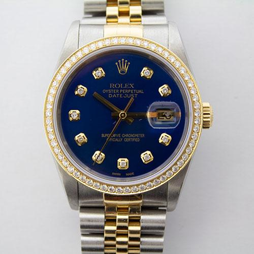 Yellow Gold And Stainless Steel Rolex Datejust With Diamonds