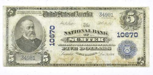 $5 Sumpter South Carolina National Currency Note