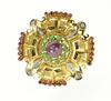 18K Yellow Gold 10.40 Ctw Ruby Diamond Emerald Greek Key Pendant