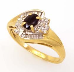 Dark Sapphire Ring in Gold, Size 5.75
