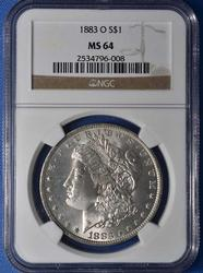 Super MS64 Morgan Silver Dollar, NGC 1883-O