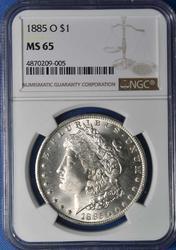 Gem MS65 1885-O Morgan $, NGC