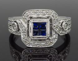 Vintage Inspired Diamond & Sapphire Ring