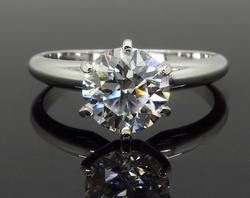 Six Prong Platinum Solitaire Engagement Ring