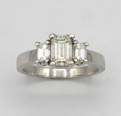 3 Stone Emerald Cut Diamond Ring in Platinum