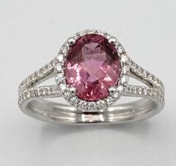 18kt Gold Pink Tourmaline & Diamond Ring