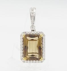 Exquisite 18kt White Gold Citrine and Diamond Pendant