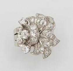 Floral Diamond Platinum Ring