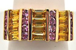 14 KT YELLOW GOLD CITRINE AND PINK SAPPHIRE RING.