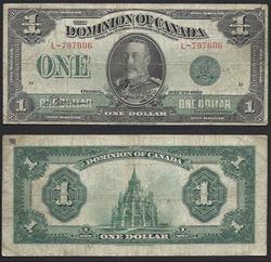 $1 Dominion of Canada 1923 Green Seal