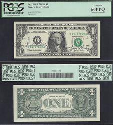 $1 2003-A FRN Autograph Cabral and Snow PCGS 66 PPQ