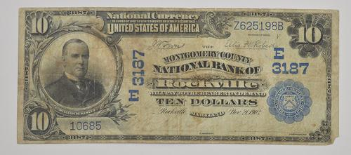 1902 $10 Charter #: E3187 Montgomery County NB of Rockville Large Note