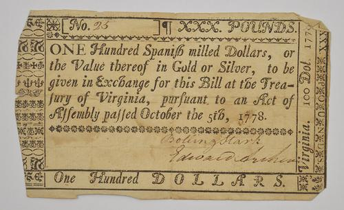 1778 100 Dollars Virginia Colonial Currency