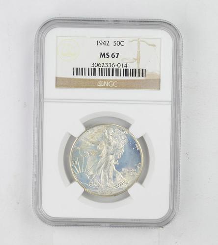 MS67 1942 Walking Liberty Half Dollar - NGC Graded