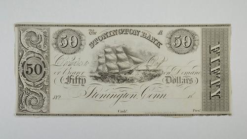 No Date $50.00 Stonington Bank, Connecticut Large Horseblanket Note