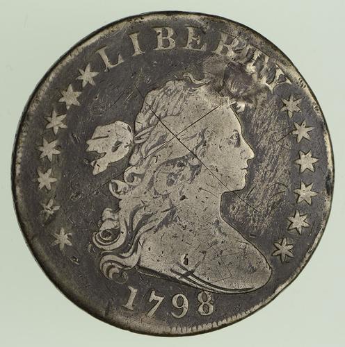 1798 Draped Bust Dollar - Heraldic Eagle Reverse Circulated