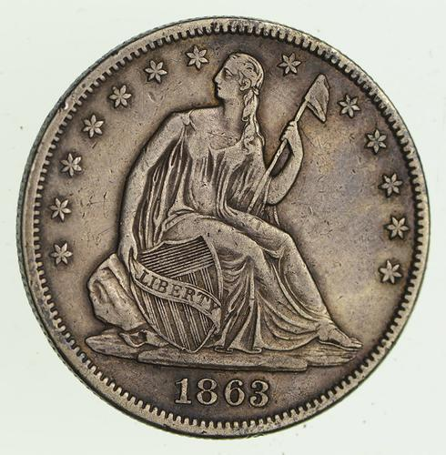 1863 Seated Liberty Half Dollar - Circulated