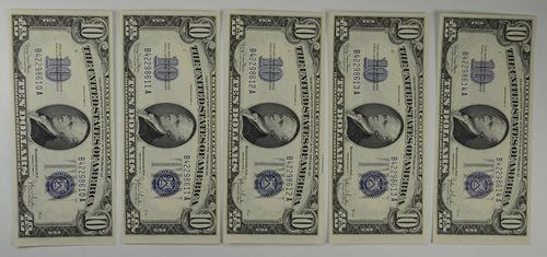5 Consecutive Notes - Series 1934-D $10.00 Silver Certificate Note