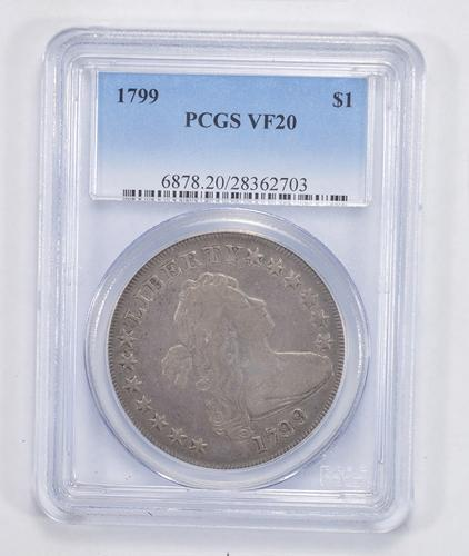VF20 1799 Draped Bust Silver Dollar - Heraldic Eagle Reverse - PCGS