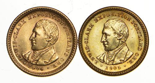 Lot (2) 1904 & 1905 Lewis & Clark Commemorative Gold Dollars