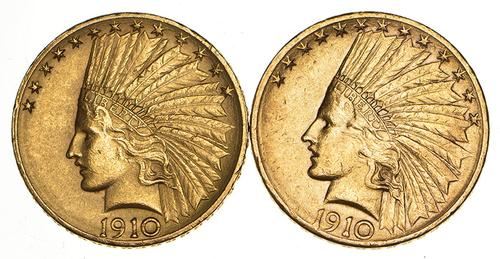 Lot (2) 1910-S/D $10.00 Indian Head Gold Eagles