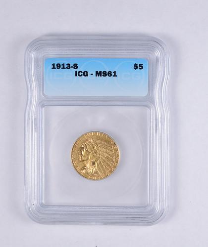 MS61 1913-S $5.00 Indian Head Gold Half Eagle - JEXX - Graded ICG