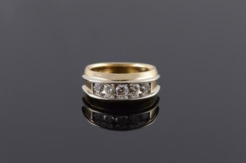 14K Yellow Gold 0.75 CTW Diamond Inset Men's Wedding Band Ring