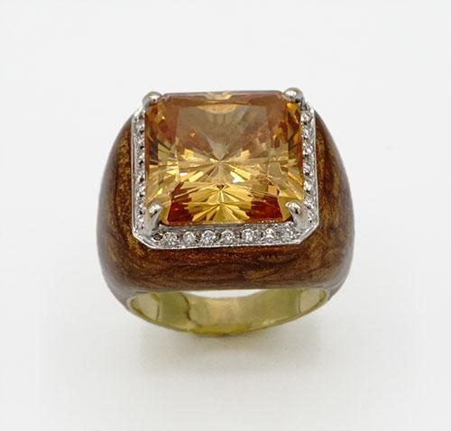 18kt Gold Gemstone and Diamond Ring