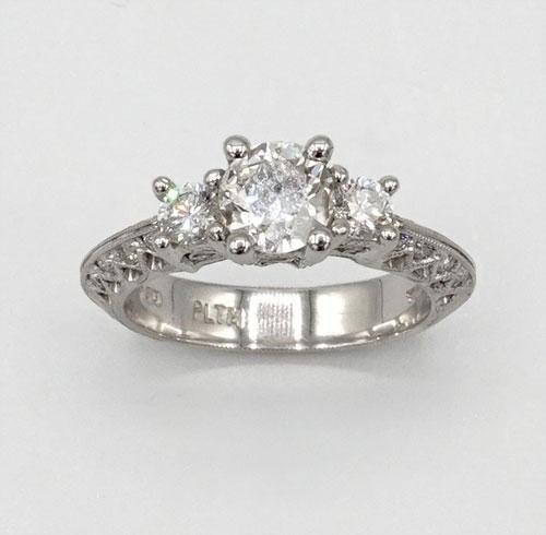 Intricate Platinum Diamond Engagement Ring