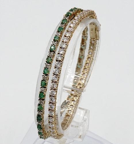 Set of 14kt Gold Bracelets- Emerald, Diamond, & CZ