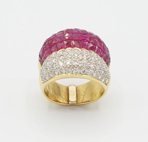 Beautiful 18kt Yellow Gold Ruby and Diamond Gold Band