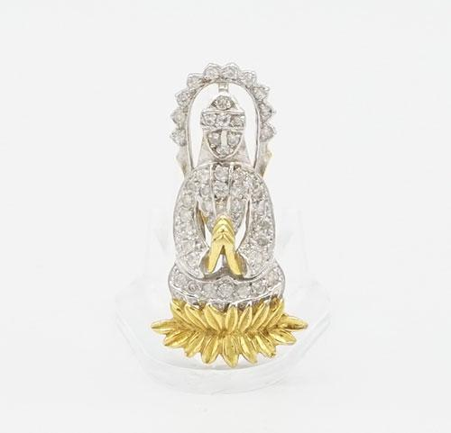 18kt Gold Praying Figure Diamond Pendant
