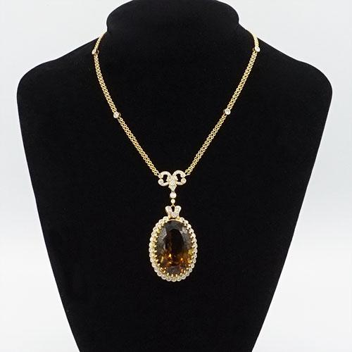 Enchanting 37ct Citrine and Diamond 14kt Yellow Gold Necklace