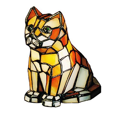 Meyda 7in Cat Tiffany Glass Accent Lamp