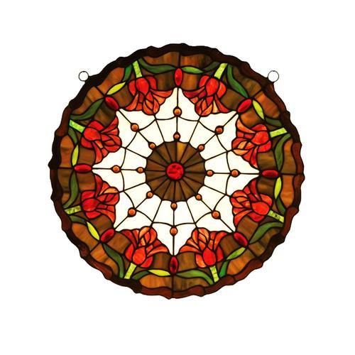 Meyda 18x18in Colonial Tulip Medallion Stained Glass Window