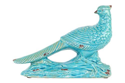 Ceramic Wood Pecker Bird Figurine on Branch Base