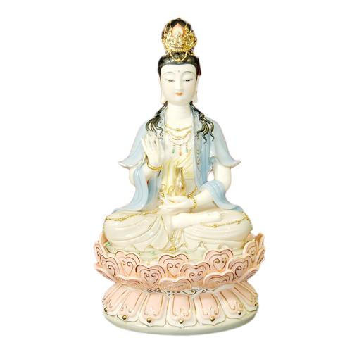 Decorative Porcelain Quan Yin with Gold Detail and Black HairFigurine