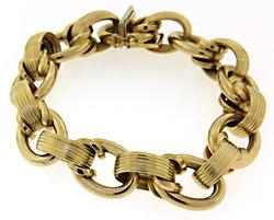 Fancy Textured Yellow Gold Bracelet