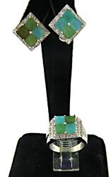 Multi Gemstone and Diamond Earrings and Ring