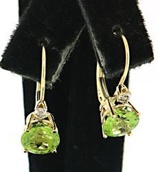 Round Peridot and Diamond Earrings