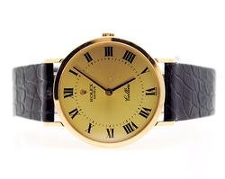 Gents 18Kt Yellow Gold Rolex Cellini With Leather Strap